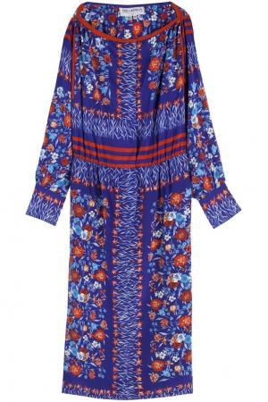Шелковое платье (70-е) Ted Lapidus Vintage. Цвет: синий