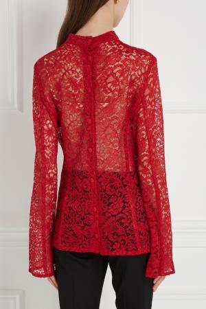 Кружевная блузка (1980-е) Ted Lapidus Vintage. Цвет: красный