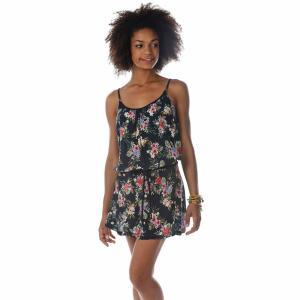 Платье короткое с тонкими бретелями и цветочным рисунком BANANA MOON. Цвет: темно-синий/цветочный рисунок