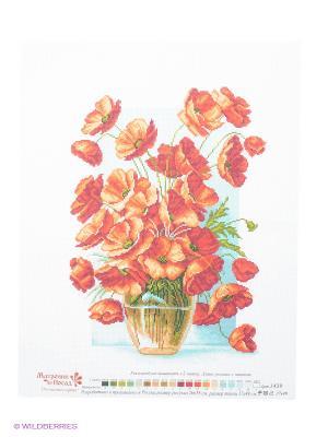 Рисунок на канве Ваза с маками Матренин Посад. Цвет: красный, белый