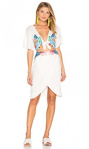 Цветочное платье с вышивкой 6 SHORE ROAD. Цвет: белый