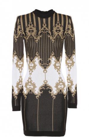 Облегающее платье с длинным рукавом и контрастным принтом Balmain. Цвет: черный