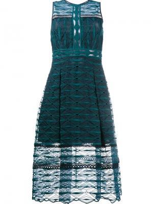 Вышитое кружевное платье длины миди Jonathan Simkhai. Цвет: зелёный