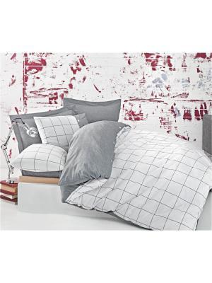 Комплект постельного белья SOREN Серо-белый, пестротканый, 145ТС, 100% хлопок, евро ISSIMO Home. Цвет: серый