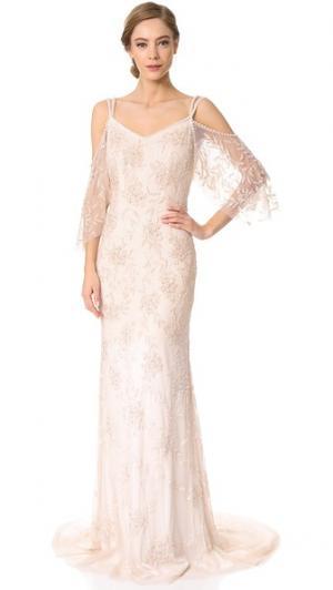 Вечернее платье-комбинация Layla с открытыми плечами Theia. Цвет: розовый