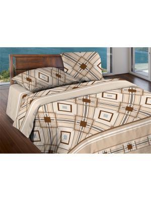 Комплект постельного белья Евро бязь Darlas Wenge. Цвет: коричневый, темно-бежевый