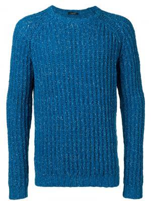 Джемпер с окантовкой в рубчик Roberto Collina. Цвет: синий