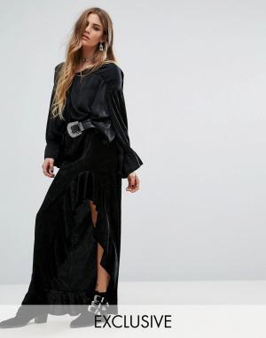 Rokoko Асимметричная юбка с оборкой. Цвет: черный