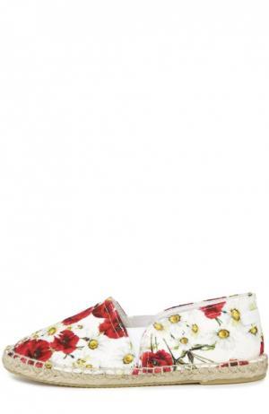 Текстильные эспадрильи с принтом Dolce & Gabbana. Цвет: красный