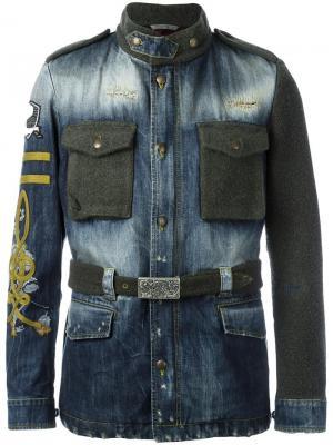 Джинсовая куртка с панельным дизайном Gabriele Pasini. Цвет: синий