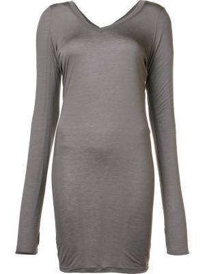 Удлиненная футболка с V-образным вырезом Isabel Benenato. Цвет: серый