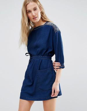 MiH Jeans Джинсовое платье мини с вышивкой M.i.h. Цвет: синий