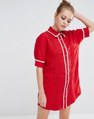 Sister jane Платье-рубашка с отделкой. Цвет: красный