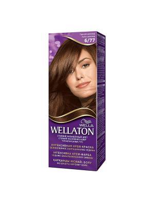 Крем-краска для волос стойкая 6/77 Горький шоколад WELLATON. Цвет: фиолетовый