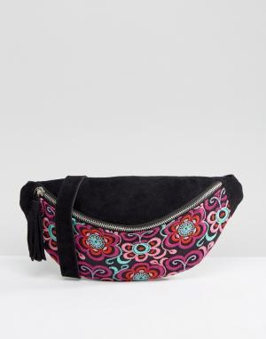 Park Lane Замшевая сумка-кошелек на пояс с вышивкой. Цвет: черный