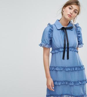 Sister jane Чайное платье с оборками. Цвет: синий