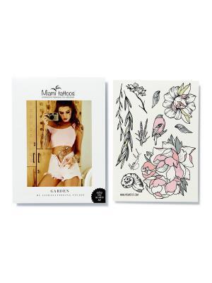 Переводные тату Miami Tattoos Garden by Nora Ink  1 лист 29,7см*21см. Цвет: морская волна, розовый, светло-серый, черный
