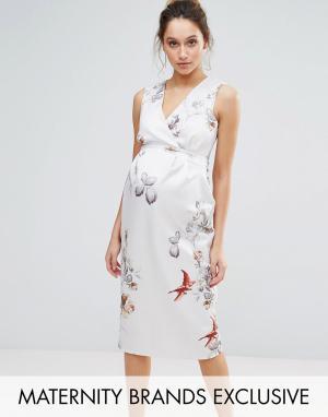 Hope and Ivy Maternity Платье-футляр с цветочным принтом &. Цвет: серый