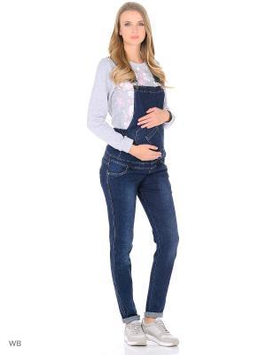 Джинсовый комбинезон для беременных 40 недель. Цвет: синий