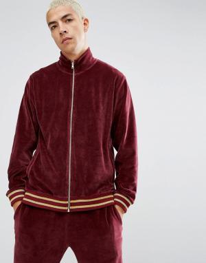 ASOS Бордовая велюровая спортивная куртка. Цвет: красный