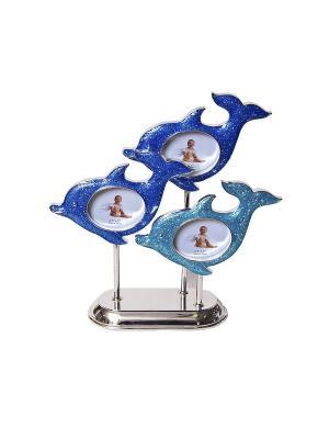 Фоторамка Дельфины, металлическая со стразами на 3 фото формата 6х5см PLATINUM quality. Цвет: синий