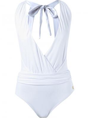 Deep v-neck bodysuit Brigitte. Цвет: белый