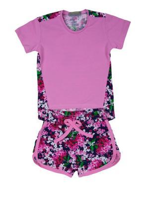 Костюм: футболка, шорты Sladikmladik. Цвет: розовый