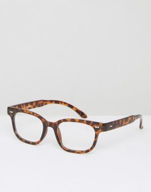 AJ Morgan Черепаховые прямоугольные очки с прозрачными стеклами. Цвет: коричневый