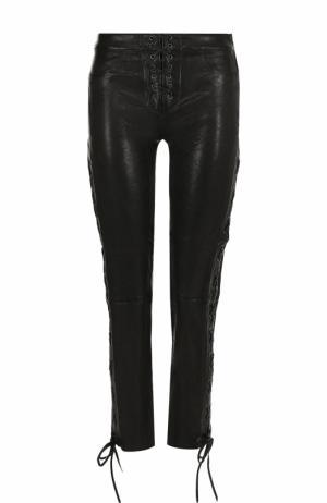 Укороченные кожаные брюки со шнуровкой Frame Denim. Цвет: черный