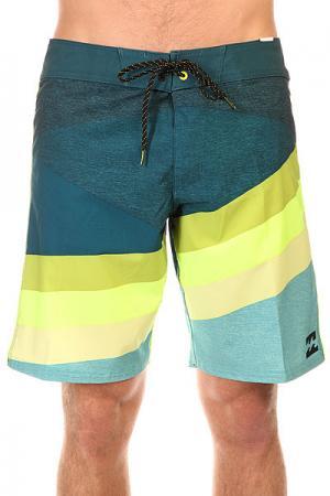 Шорты пляжные  Slice X 19 Haze Billabong. Цвет: синий,желтый,голубой