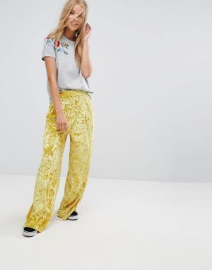 Pimkie Бархатные брюки с широкими штанинами. Цвет: желтый
