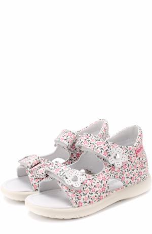 Кожаные сандалии с принтом и аппликациями Falcotto. Цвет: розовый