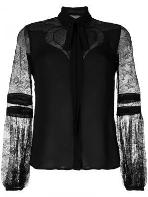 Блузка с кружевными рукавами Elie Saab. Цвет: чёрный