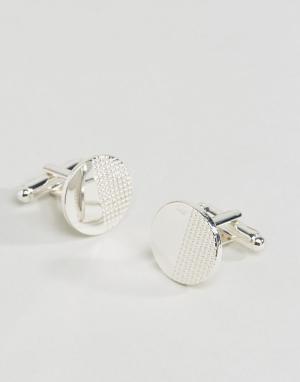 ASOS Серебристые запонки с геометрической отделкой. Цвет: серебряный