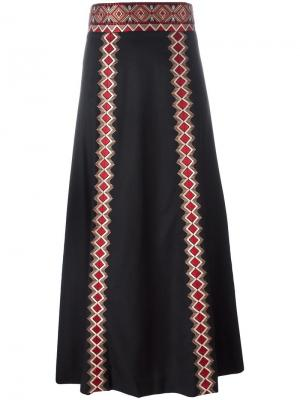 Embroidered geometric detailing skirt Vilshenko. Цвет: чёрный