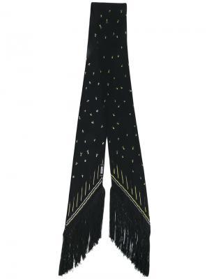 Узкий платок с бахромой Rockins. Цвет: чёрный