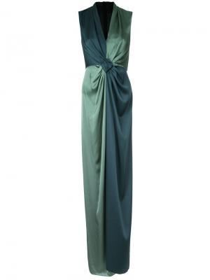 Длинное платье с контрастной отделкой Paule Ka. Цвет: зелёный