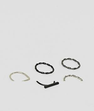 ASOS Набор колец черного и темно-серого оттенка. Цвет: мульти