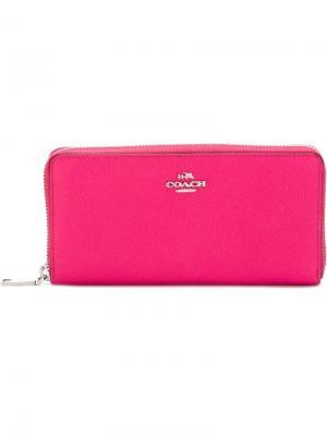 Кошелек с круговой застежкой-молнией Coach. Цвет: розовый и фиолетовый
