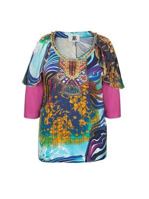 Блузка KR. Цвет: синий, лазурный, сиреневый