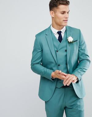 ASOS Зеленый приталенный пиджак из 100% шерсти. Цвет: зеленый