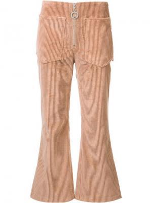 Вельветовые расклешенные брюки Edun. Цвет: розовый и фиолетовый