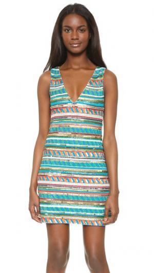 Расшитое бисером платье Venetia c V-образным вырезом alice + olivia. Цвет: мульти