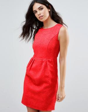 Zibi London Жаккардовое цельнокройное платье. Цвет: красный