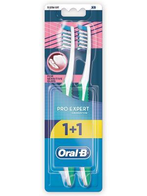 Зубная щетка Pro-Expert Для чувствительных десен 35 экстра мягкая 1+1шт бесплатно ORAL_B. Цвет: голубой