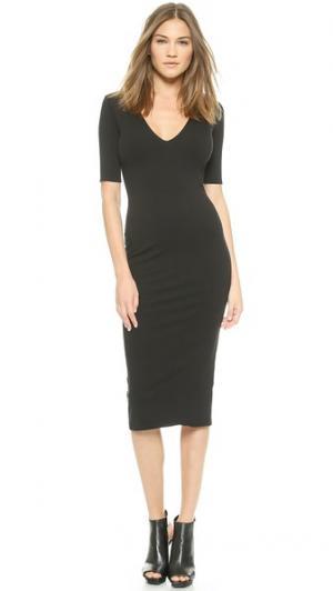 Двустороннее платье с рукавами средней длины, V-образным вырезом и длиной до середины голени AD