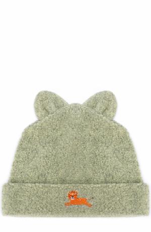 Шапка с вышивкой и декором Kissy. Цвет: зеленый