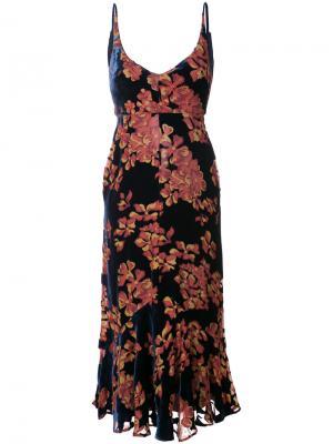 Платье с цветочным рисунком Saloni. Цвет: синий