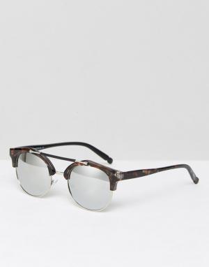 7X Черепаховые солнцезащитные очки в стиле ретро. Цвет: коричневый