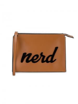 Кожаный клатч Nerd Les Petits Joueurs. Цвет: коричневый